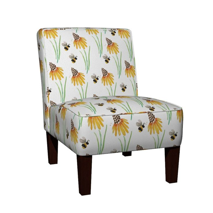 Maran Slipper Chair featuring Rudbeckia Coneflowers & Bubble Bees by jessmorris | Roostery Home Decor
