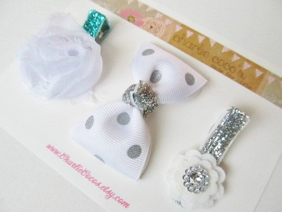 "Girls/Baby Hair Clip Set, Felt Flower, Unique Hair Clips, Flower Hair Clips, Hair Bow Clips-""Winter Wonderland"""