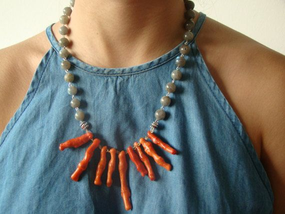 labrodorite and coral necklace made with silver by OphiJewelry