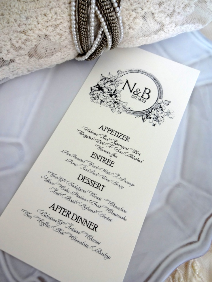 """MENU CARD - Ideal for Weddings, Rehersal Dinners, Christenings & More. 3.5x7"""" Vintage, Shabby Chic, Rustic Inspiration. Fully Customed Menu. $1.25, via Etsy."""