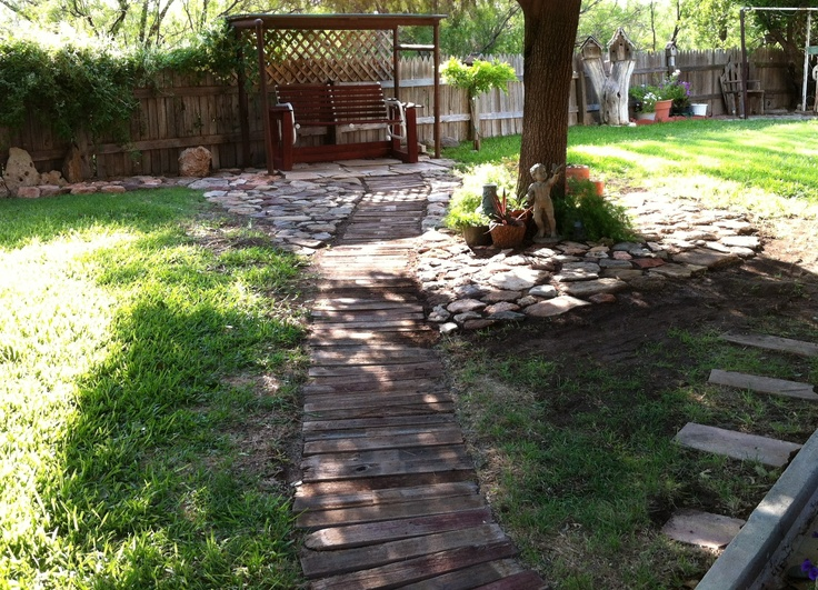this is my wooden walkway in my backyard my yard