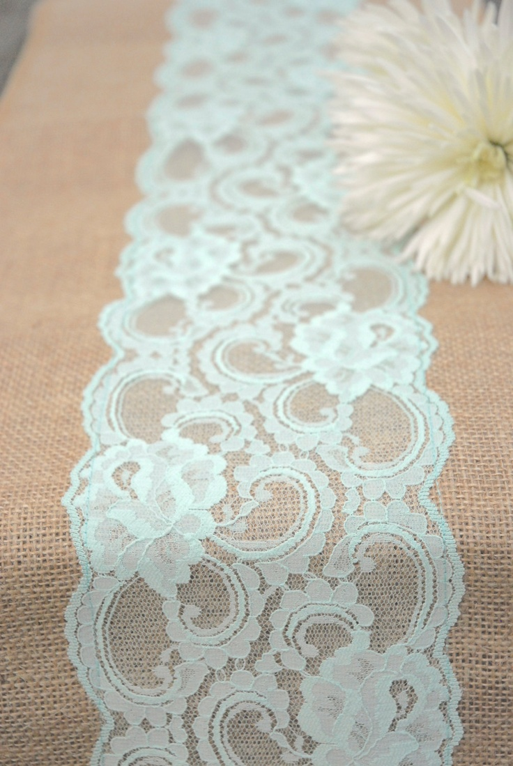 """Vintage Antique Mint, Peppermint, Pastel Spring Wedding Lace Burlap Runner 12""""x108"""".  Country, Shabby Chic, Vintage, or  Rustic Wedding. $16.00, via Etsy."""