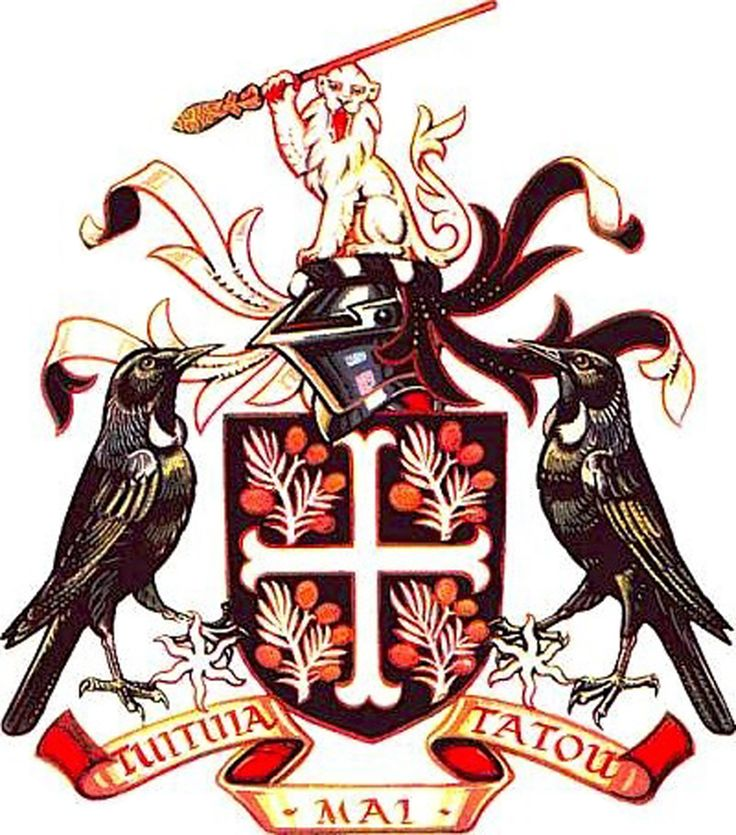Coat of arms of the city of Birkenhead, New Zealand.
