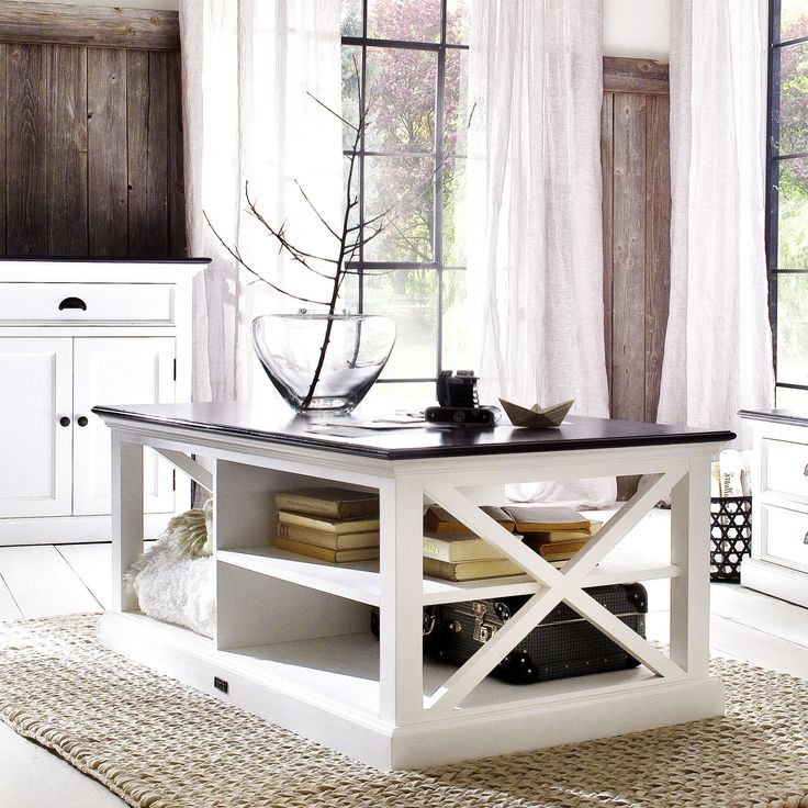 White Danish Mahogany Coffee Table w/Black Contrast Top |H15490