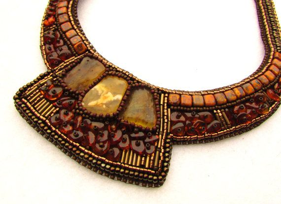 Baltic amber necklace – Baltic amber jewelry – genuine amber – bead embroidery…