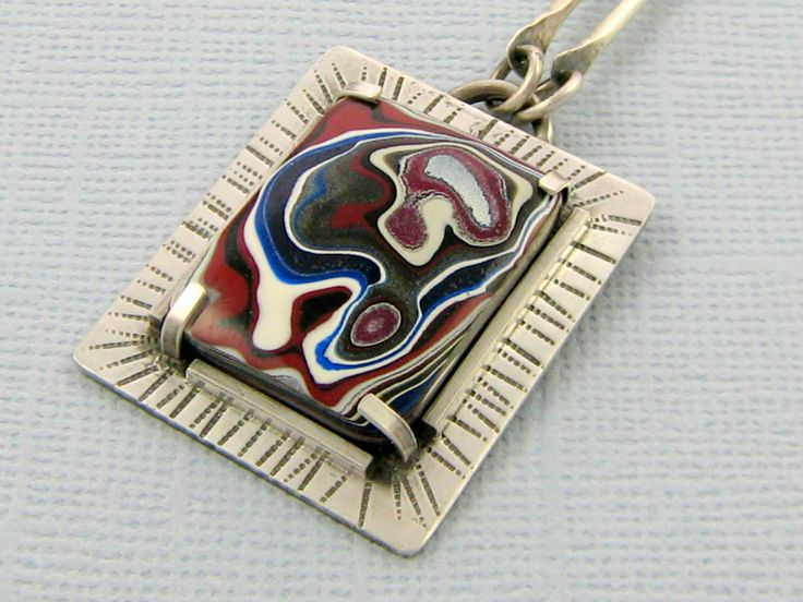 Sterling SIlver and Fordite One of a Kind Necklace | Felt