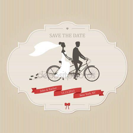 Grappige bruiloft uitnodiging met bruid en bruidegom tandem fiets — Stockillustratie #18237147