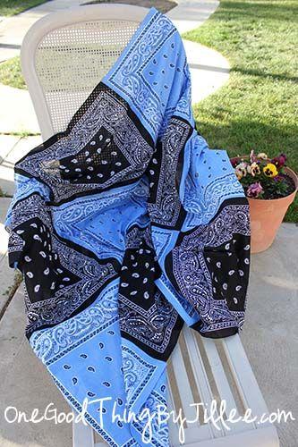 DIY bandana quiltSuper Versatile, Bandanas Quilt, Good Things, Sewing Projects, Cute Ideas, Denim Quilt, Bandanas Blankets, Bandana Quilt, Versatile Bandanas