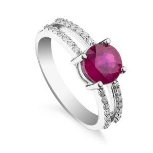 Inel cu rubin si diamante C425