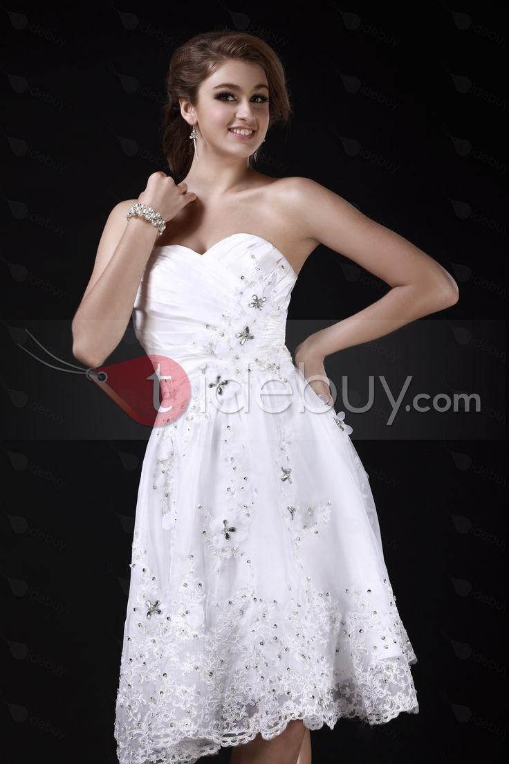 Aラインスウィートハートティーレングスアップリケウェディングドレス