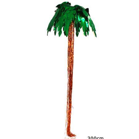 Palmboom decoratie 300 cm. Een mooie palmboom decoratie wat u door middel van een haak kan bevestigen aan het plafond. De palmboom is gemaakt van glimmend folie en onder de palm hangen slierten folie als stam. De doorsnede van de palmbladeren is ca. 70 cm.
