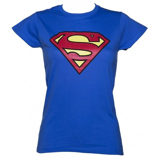 Women's Blue Superman Logo T-Shirt ($16) ❤ liked on Polyvore featuring tops, t-shirts, superman logo t shirt, blue tee, logo t shirts, superman top and logo tops