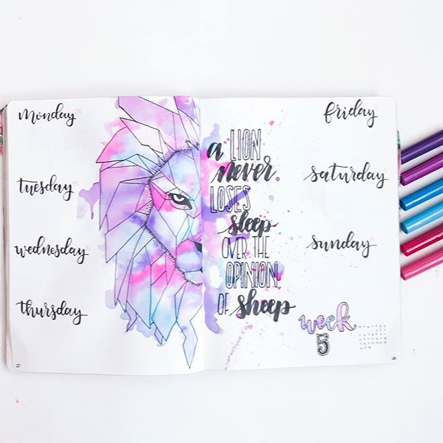 Anything stunning layout by @the.petite.planner created with the help of supplies from our last Well Inked Box. Consider our mids blown.    #watercolorart #bulletjournalweekly #brushlettering #bulletjournaladdict #weeklyspread #planwithme