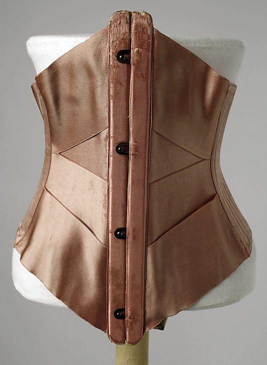 Corset  Wasservogel Corsetière   Date:     1905  Culture:      American  Medium:      silk, linen, boning, metal  Dimensions:      Length at CB: 7 in. (17.8 cm)  Credit Line:      Gift of Frieda Wasservogel, 1963  Accession Number:      C.I.63.6.3