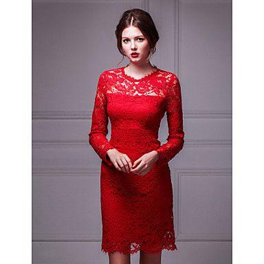 vaina / columna vestido joya corto / mini cóctel de encaje – MXN $ 2,137.04