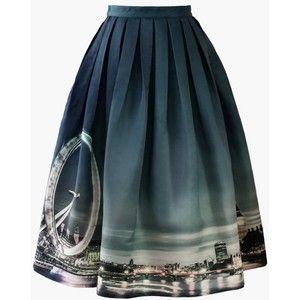 Chicwish Night Skyline of London Print Midi Skirt