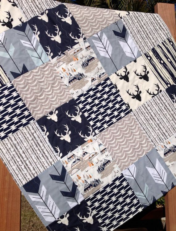 Woodland Quilt Kit Woodland Nursery Bedding Grey by OyeBabyFabrics