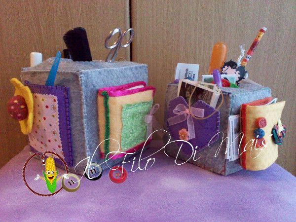 Il filo di mais di Chiara Gloria e Daniela: Feltro :cubo porta oggetti
