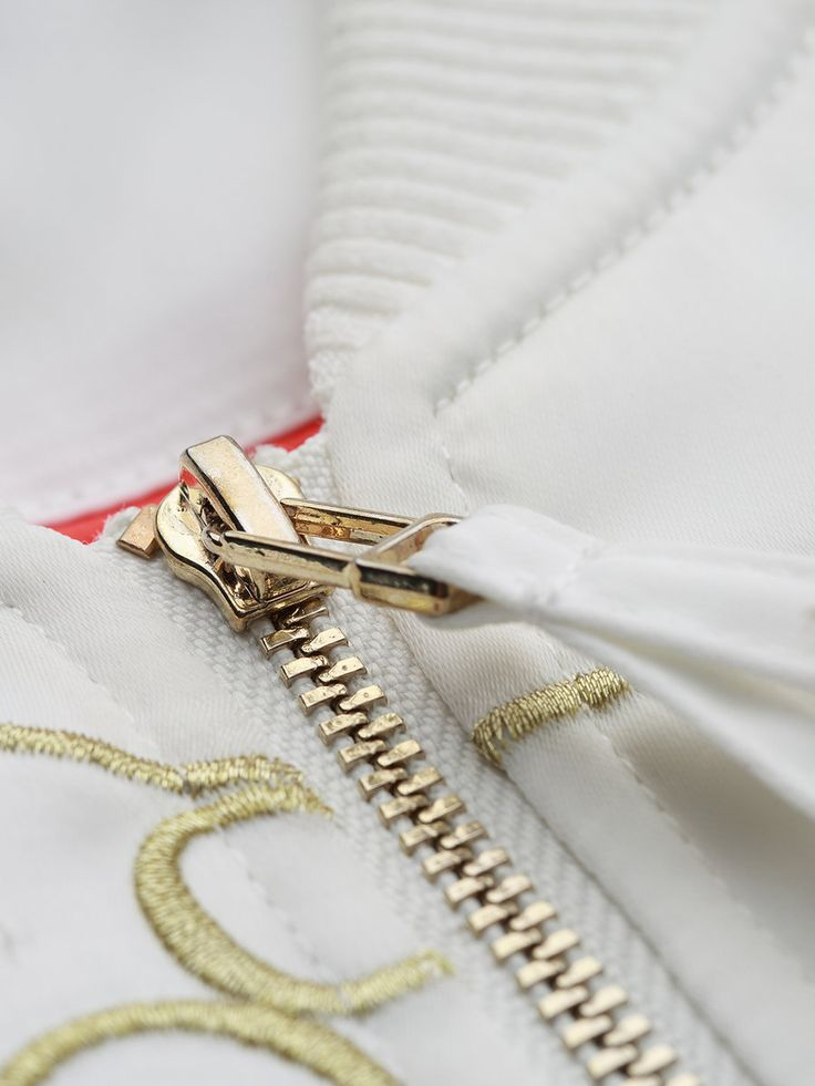 Shop Cropped Jackets - White Long Sleeve Embroidered Cropped Jacket online. Discover unique designers fashion at StyleWe.com.