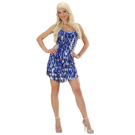 Pailletten jurkje blauw met zilver voor dames. Feestelijk glitter jurkje met blauwe en zilveren pailletten voor dames. Op de achterzijde van de jurk zitten geen pailletten.