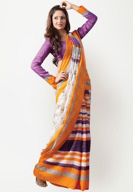 Printed Cotton Blend Orange Saree
