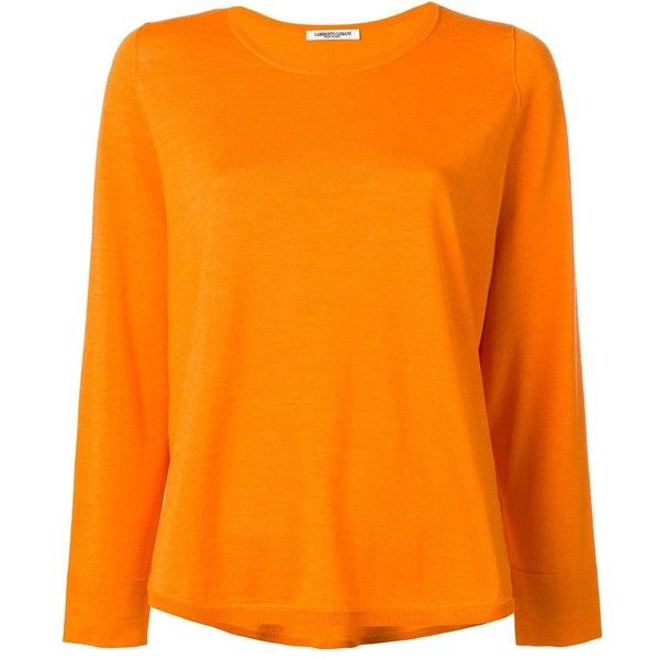 Lamberto Losani round neck jumper ($303) ❤ liked on Polyvore featuring tops, sweaters, orange, orange top, lamberto losani, orange jumper, round neck sweater and jumper top