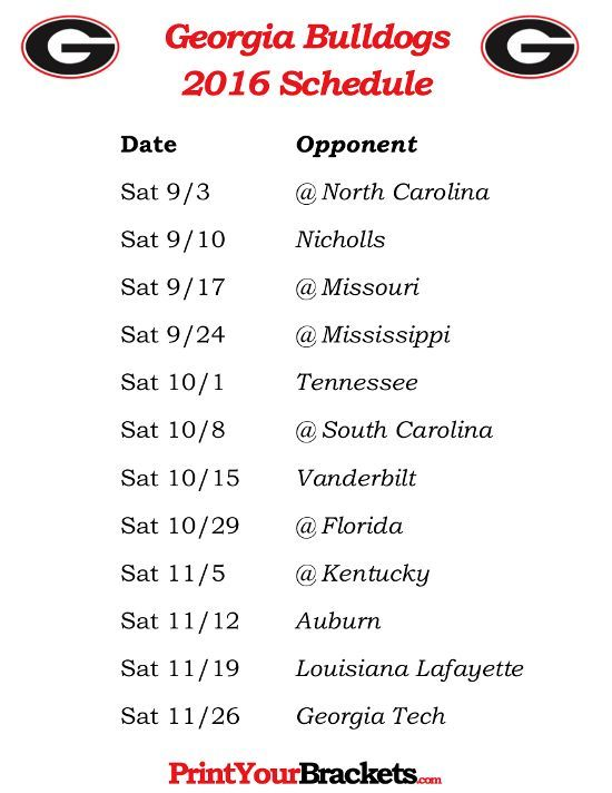 Printable Georgia Bulldogs Football Schedule 2016 | Printable ...