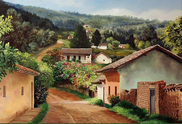 Paisajes campesinos jos orlando l pez art casas de - Paisajes de casas de campo ...