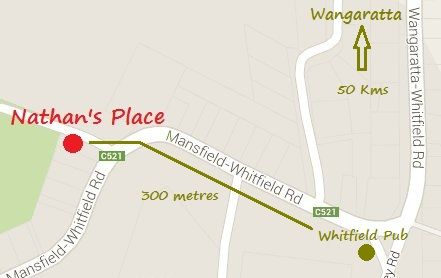 Show's the actual location of Nathan's Place relative to the most recognisable landmark within Whitfield - the Mountain View Pub!!
