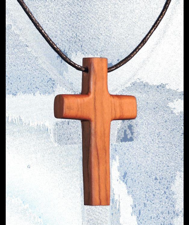 Holz Olivenholz Kreuzanhänger Kruzifix Pendant, Oliven wood Pendant  Maße mm.  B/H/T - 36/61/8  Halskette, Wachsschnur 1m  Briefversand per Einschreiben - 4 EUR