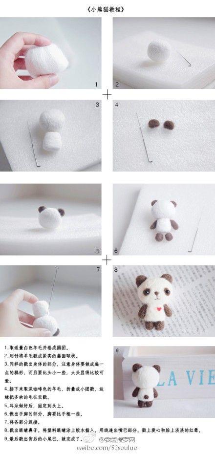 Needle felting a panda bear.