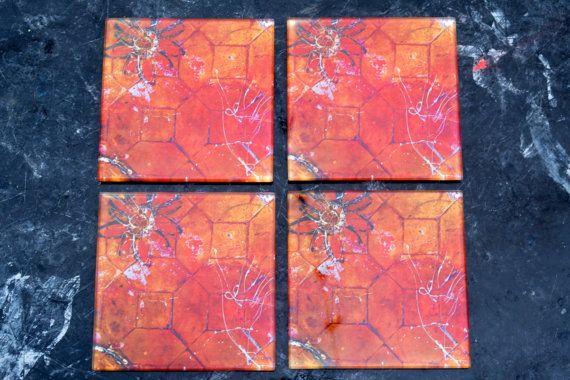 Glass Coasters Set of 4 Orange Fleur by Zero12Photography on Etsy