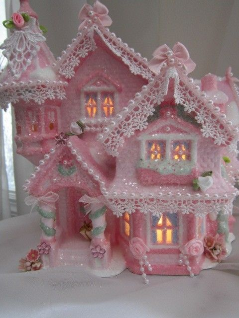 CHIC Pink & White Glitter Shabby Lighted Christmas Village House