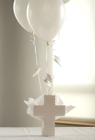 Cross Balloon Centerpiece, Baptism Table Decorations, Angel Baptism Decorations at SetToCelebrate.com