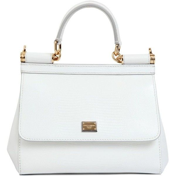Dolce & Gabbana Women Small Sicily Iguana Embossed Leather Bag (£1,420) ❤ liked on Polyvore featuring bags, handbags, shoulder bags, purses, white, man bag, white leather purse, white hand bags, genuine leather purse and genuine leather handbags