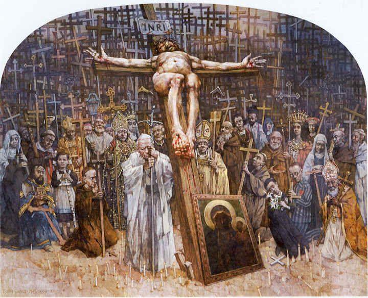 XII Estación. Cristo muere en la cruz. Gólgota de Jasna Góra, del pintor polaco Jerzy Duda Gracz