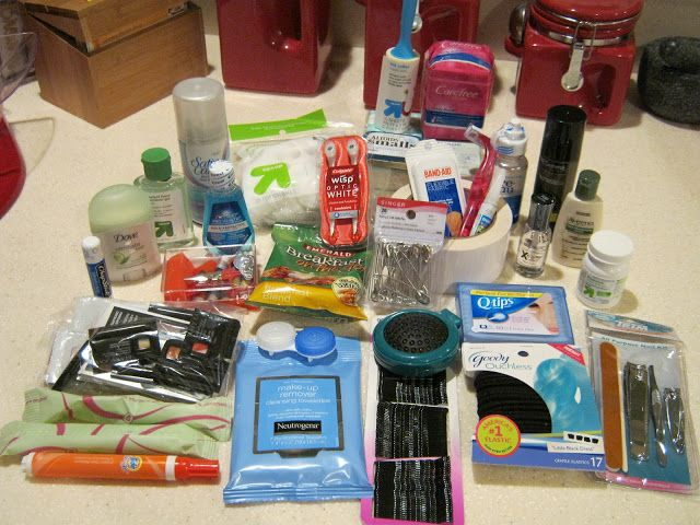 Team Survival Kit for club volleyball season...minus the makeup. ;-)