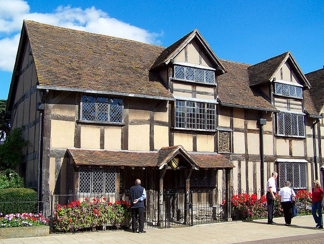 This is Shakespeare's birthplace, in the town of Stratford-Upon-Avon. The town is still the home of the Royal Shakespeare Company, where many Shakespeare plays are performed, and it is well worth a visit.