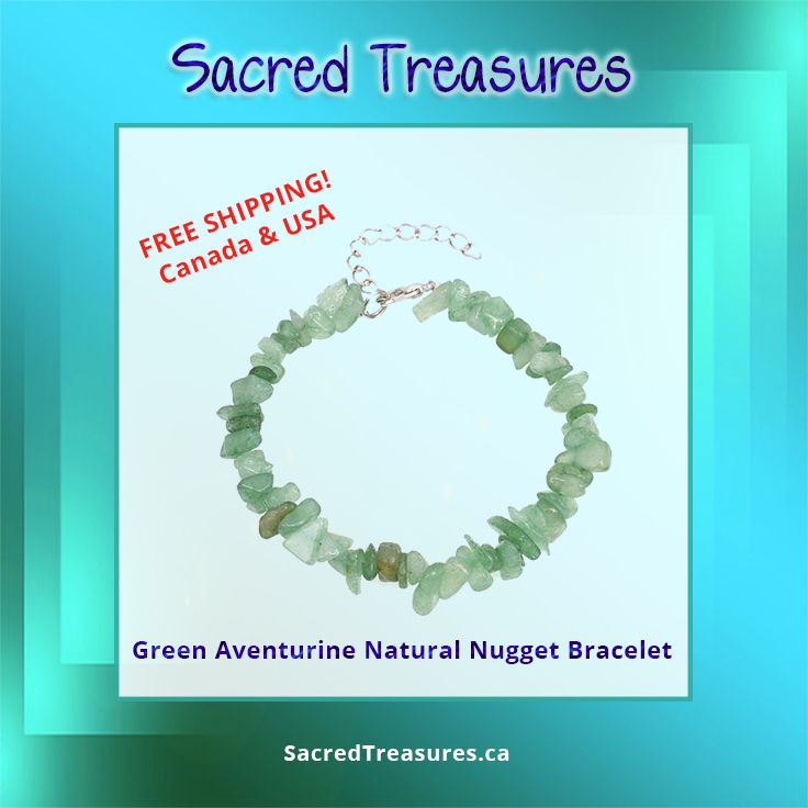 Majestic, Healing Green Aventurine Crystal Nugget / Chip #Bracelet - FREE SHIPPING  #gemstones #crystals #shopcanadian #jewelry