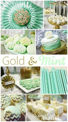 Mint and Gold Birthday Party on Kara's Party Ideas by Sugar Coated Mama! Beautiful dessert table to look at if you're planning a birthday party or shower!