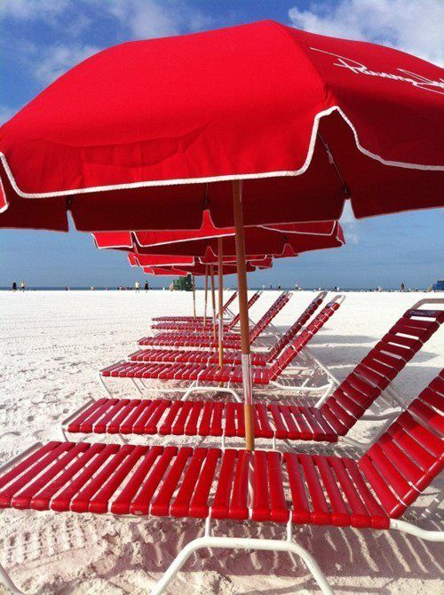 Red sunshades on the beach
