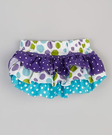Take a look at this Purple Polka Dot Ruffle Diaper Cover - Infant by Amy's Buttons & Bows on #zulily today!