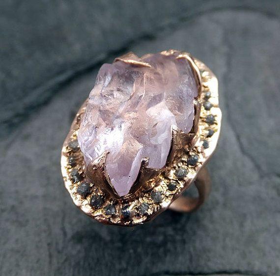 Brut brut Uncut Kunzite diamants Rose or Halo anneau Engagement bague de mariage déclaration anneau anniversaire anneau byAngeline