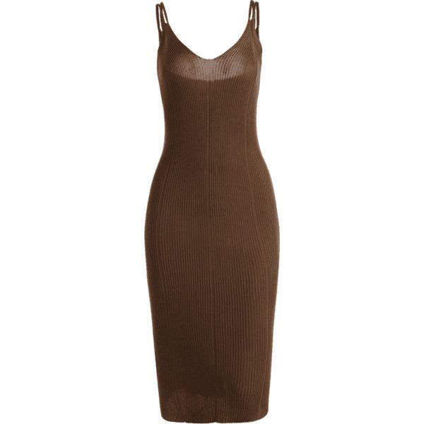 Plain Cami Knitted Dress Brown ($17) ❤ liked on Polyvore featuring brown cami and brown camisole
