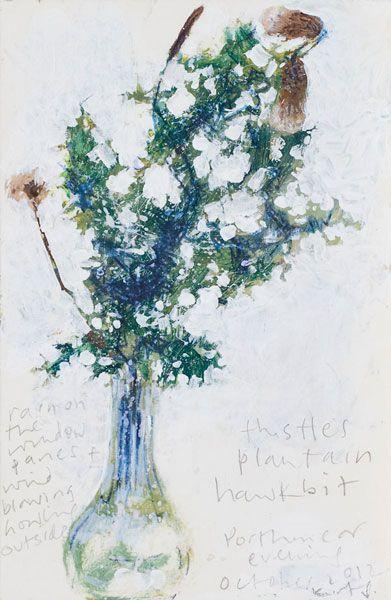 Kurt Jackson: Thistles, plantain, hawkbit October 2012 Campden Gallery, fine art, Chipping Campden, camden gallery, contemporary, contempora...
