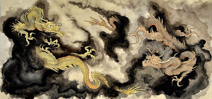 Heavenly Dragons by Clark North Traditional Asian Tattoo Artwork Print – moodswingsonthenet