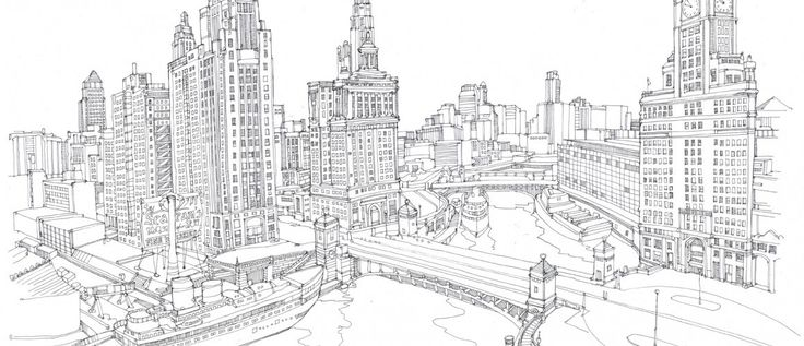 Detailed Fine Line Drawing Cityscape