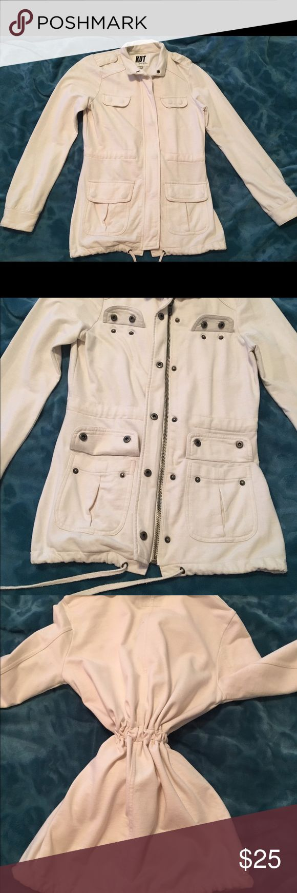 Cream zip up utility jacket with drawstring-women NWOT Women's cream zip up jacket with pockets and draw strings. Size XS. I'm a small and it fits me perfect. Jacket is soft, zips up, buttons up over the zipper, all pockets button down as well. Bottom and center have drawstrings to cinch and keep tight around body. Perfect for those cold winters. Can wear jacket open with cuffs pushed up and a scarf for a great fall look. Never worn but no tags. Perfect condition. #cream #xs #jacket #zipper…