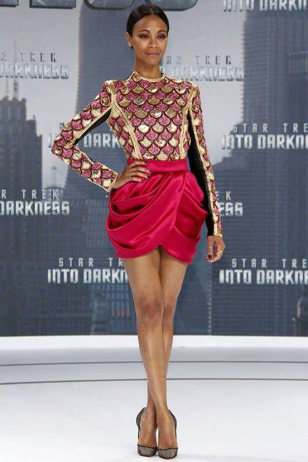 Zoe Saldana shines in a Balmain dress and mesh Christian Louboutin pumps for the Star Trek Into Darkness Berlin release.