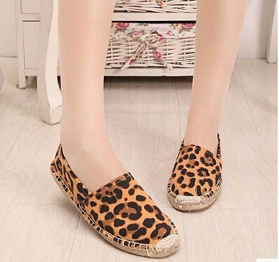 Женская обувь весна и осень обувь одного женская обувь 2015 леопардовым принтом конопли подошве плоский каблук повседневная обувь женская плоским